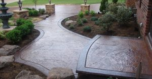 Decorative concrete flatwork installation in Asheville, North Carolina
